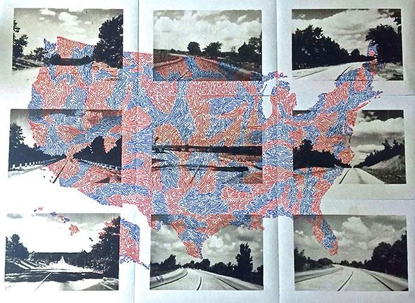 Nueve caminos Collage y tinta sobre papel 2018