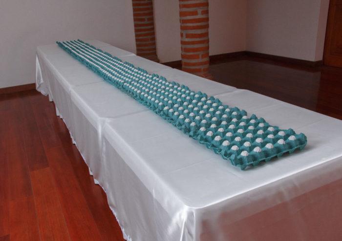 Cordillera 2018 | Cartón de huevos ¨masilla de pared¨ mesas plásticas de comedor¨ mantel Medidas: 79 x 400 x 79 cm
