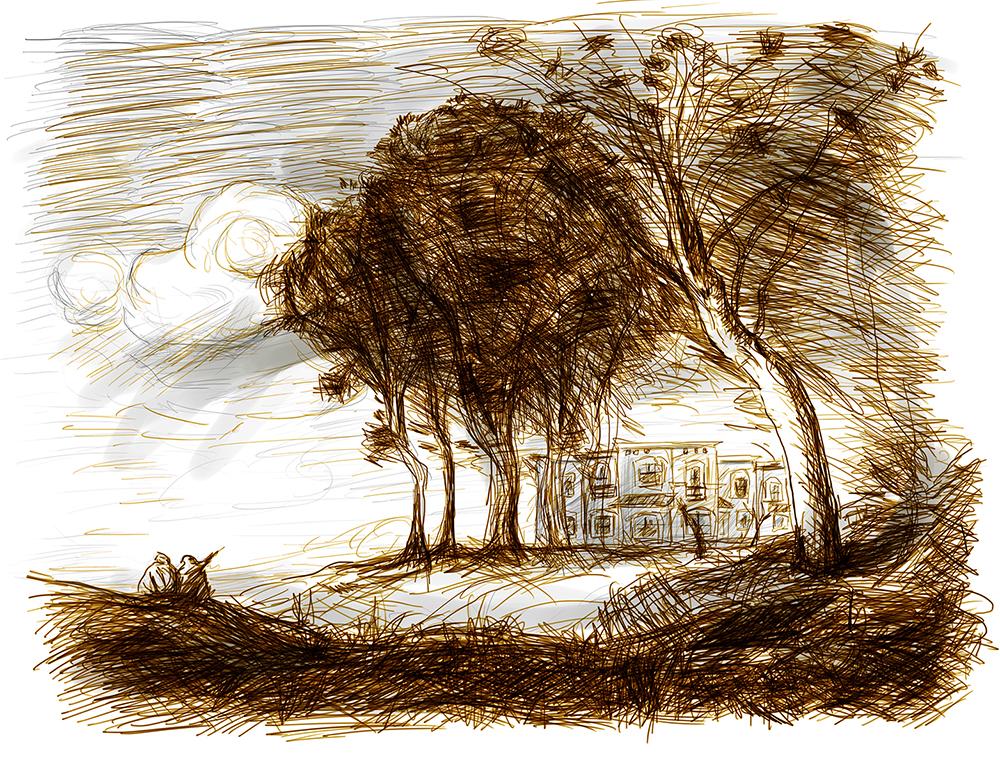 16_Casas Quma en paisaje de Corot