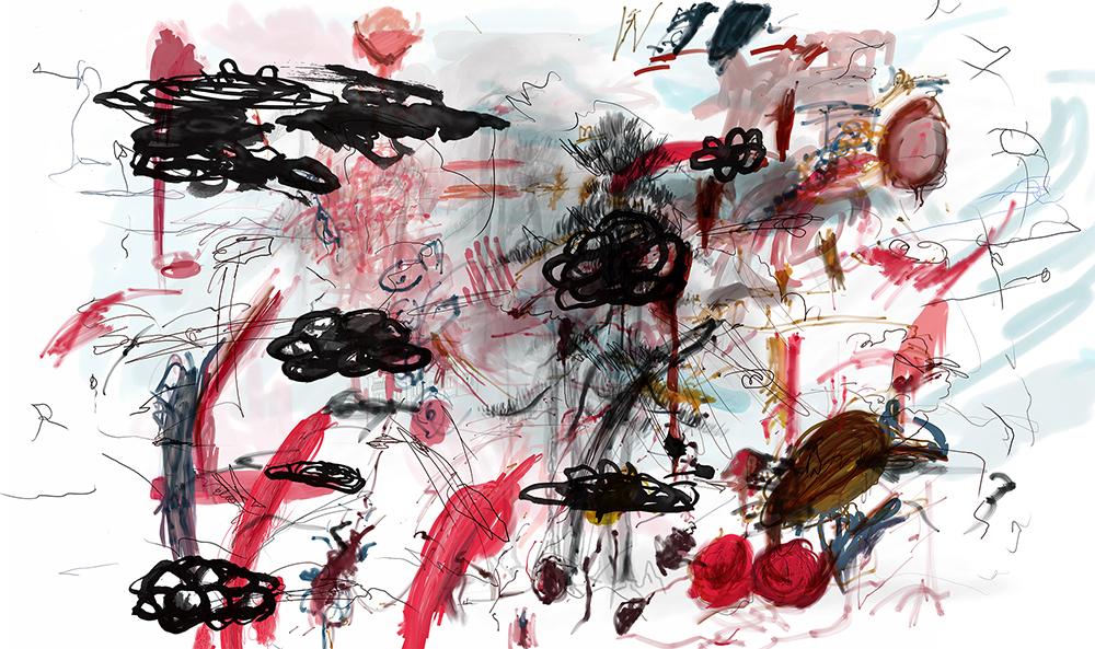 2_Casas Quma de interés social en paisaje japonés, pintura de Cy Twombly, nenúfares y grafismos